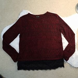 NWOT. Jessica Simpson cranberry and black lace